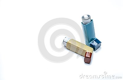 Asthma inhaler. Asthma controller, reliever equipment. Steroids and bronchodilator drug for asthma and chronic bronchitis.