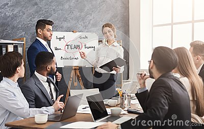 stock image of foreign partner making business presentation