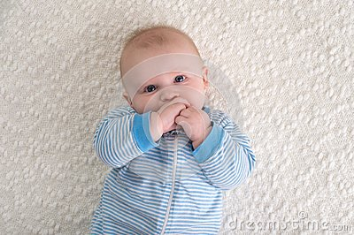 Baby Boy in Blue and White Striped Pajamas