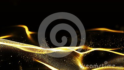 Digital abstract gold color wave particles flow background