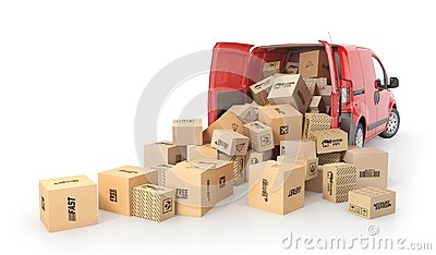 stock image of cardboard boxes drop out from the transport isolated on a white background. 3d illustration