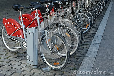 Velov Self-Service Bike in Lyon France