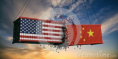 USA and China trade war. US of America and chinese flags crashed containers on sky at sunset background.