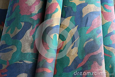 Closeup camouflage fabric pattern like military, but colorful color.