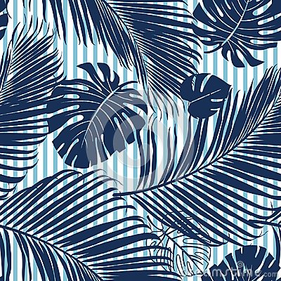 Summer Navy blue tropical forest leaves bright mood on sky blue stripe seamless pattern fashoin fabric, wallpaper and card.
