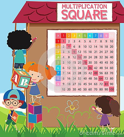 Math Multiplication Square with Students