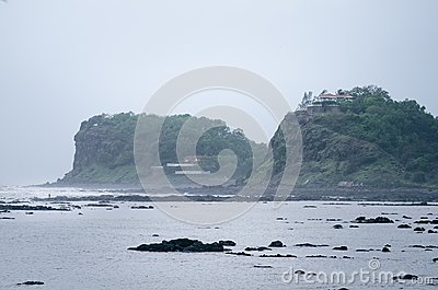 Indian coastlines and monsoon season. Rainy day in India. Irelands and coast. Concept of beautiful nature during a monsoon.