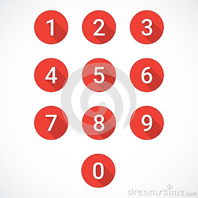 Set of red number icons