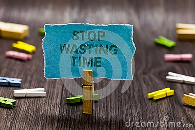 Text sign showing Stop Wasting Time. Conceptual photo Organizing Management Schedule lets do it Start Now Clips symbol idea script