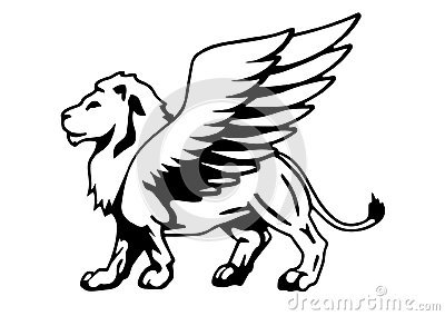 Winged lion silhouette