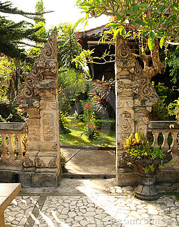 Traditional split gate in balinese garden