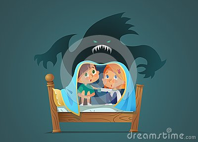 Pair of scared children sitting on bed and hiding from frightening ghost under blanket. Fearful kids and imaginary