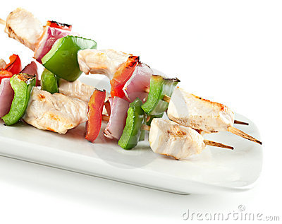 Checken Kabobs on White Plate Isolated