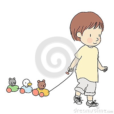 Vector illustration of little toddler pulling colorful wooden animal pull along train toy. Early child development activity