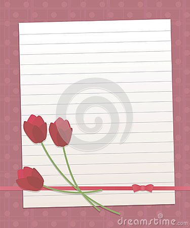 Paper lined sheet on a dark pink background with vertical and horizontal stripes and round circles red pearl line red flowers tuli