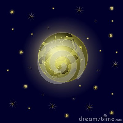 Vector Full Moon and Stars, Sky Background, Galaxy Backdrop.
