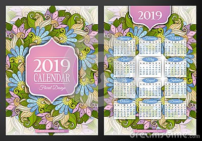 Colored 2019 Year Calendar Rectangular Template, Double-sided