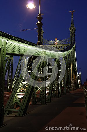Night view of Chain bridge on Danube river in Budapest city. Hungary.