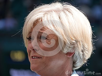 Sue Barker on centre court before the start of the men`s tennis finals.