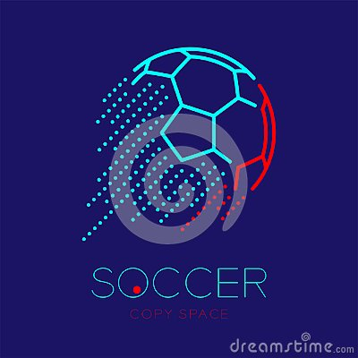 Soccer ball shooting logo icon outline stroke set dash line design illustration