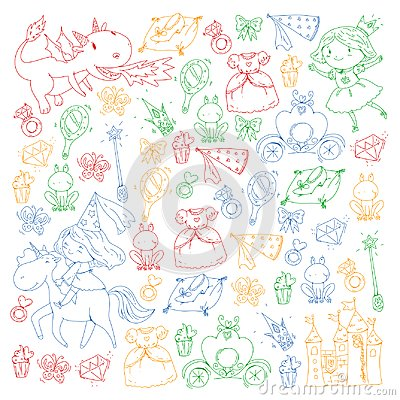 Princess vector patterns. Cute little princess with unicorn and dragon. Castle for little girl, dress, magic wand. Fairy