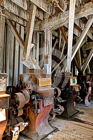 Antique grist mill equipment