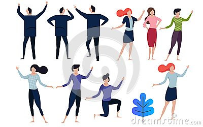 Office concept business people vector illustration flat design. collection in many pose man and woman.