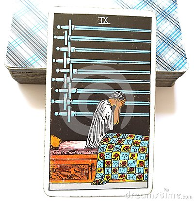 9 Nine of Swords Tarot Card Deep Unhappiness Joyless Mental Anguish Sick with Worry Anxiety Stress Worries Burdens