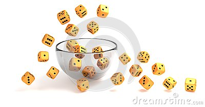 Rolling golden dice on clear glass bowl