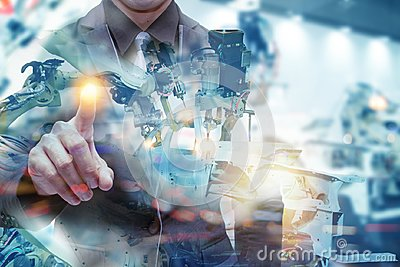stock image of iot smart factory , industry 4.0 technology concept, engineer point hand with robot in automation factory background with fake sun