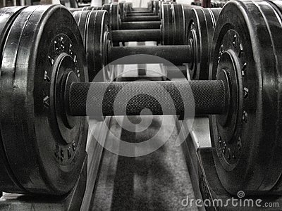 Weights in a fitness studio, hdr