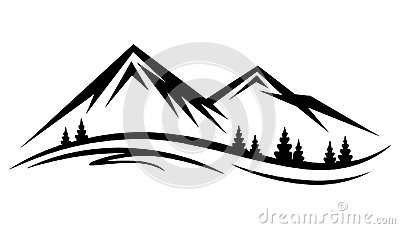 Abstract vector nature or outdoor mountain range silhouette