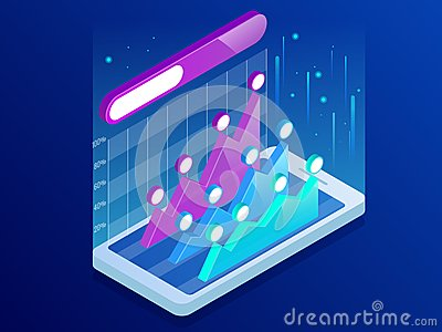 Isometric infographics inside smartphone, business trend analysis on smartphone screen with graphs, perspective. Market