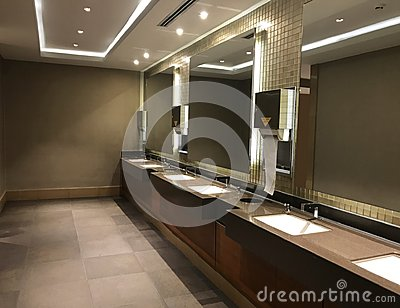 stock image of commercial bathroom. interiors shots of a modern bathroom