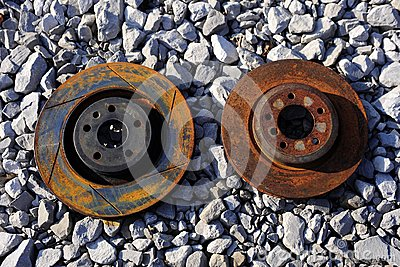 Abandoned and rusted brake rotors