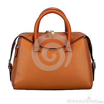 Saturated orange female leather bag isolated on white background