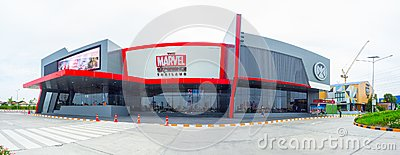 The facade building of Marvel Experience, The World`s First Hyper-Reality Tour is a mobile interactive attraction featuring Marvel