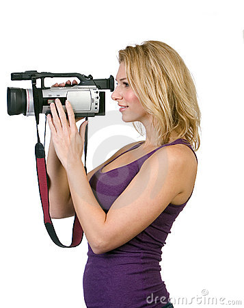 Woman holding camcorder