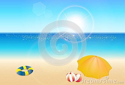 Seaside view poster, beautiful nature resort landscape, summer holiday concept