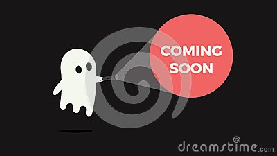 Cute ghost with his flashlight pointing towards a message for new product or movie coming soon.