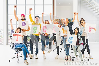stock image of group office coworker or creative people hold word together, cheer and celebrate. business project partner, togetherness concept
