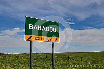 US Highway Exit Sign for Baraboo