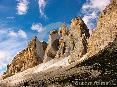 Dolomites mountains clouds landscape dolomiti lavaredo rock climbing cliffs italy peaks blue sky rocks cliff