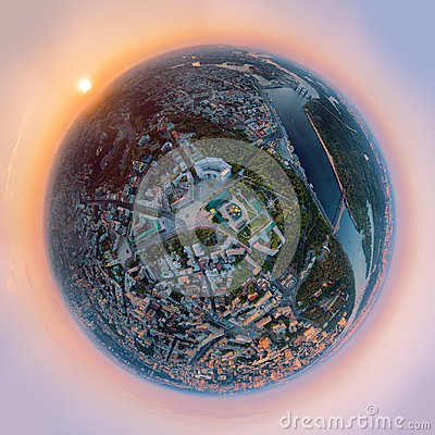 A big 360 degrees panorama in high resolution of the city of Kiev over the St. Michael`s Golden-Domed Monastery at