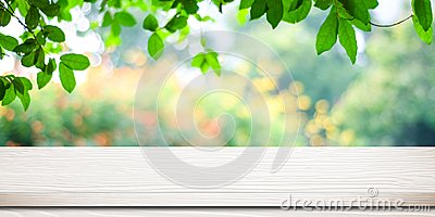 Empty white vintage wooden table over blurred park nature background, banner for product display montage, spring and summer