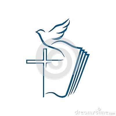 Church logo. Christian symbols. The cross of Jesus Christ on the background of the open Bible and the flying d