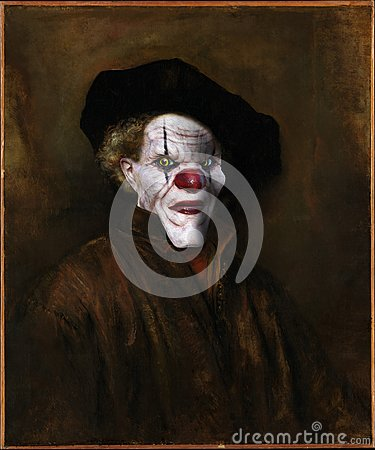 Evil Clown, Rembrandt Surreal Oil Painting