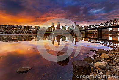 A beautiful sunset over downtown Portland Oregon waterfront along Willamette River