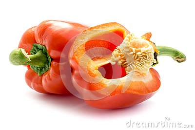 Paprika Bell Pepper in red isolated white Background