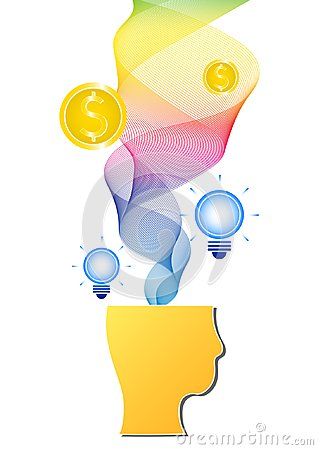 Colorful rainbow spectrum ribbon with blue light bulb and gold coin splash from thinking human head
